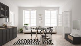 Cuisine moderne minimaliste avec la table de salle à manger et le salon, whi Images stock
