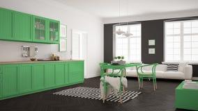 Cuisine moderne minimaliste avec la table de salle à manger et le salon, whi Photographie stock libre de droits