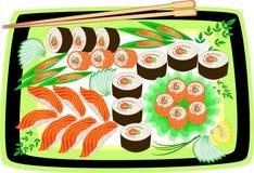 Cuisine nationale japonaise gastronome Les plats admirablement servis incluent des fruits de mer, sushi, petits pains, caviar, ri illustration de vecteur