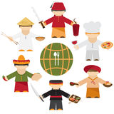 Cuisine nations of the world , flat  different chefs Stock Photography