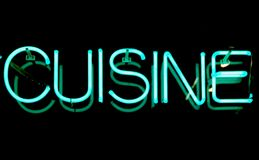 Cuisine Neon Sign. Blue neon sign - Cuisine Stock Images