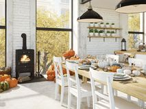 Cuisine nordique dans un appartement rendu 3d Concept de thanksgiving Photographie stock libre de droits
