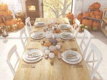 Cuisine nordique de vue supérieure dans un appartement rendu 3d Concept de thanksgiving Photo libre de droits
