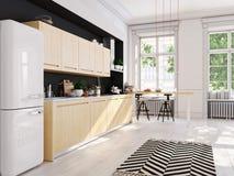 Cuisine nordique moderne en appartement de grenier rendu 3d Photos stock