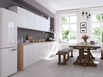 Cuisine nordique moderne en appartement de grenier rendu 3d Images libres de droits