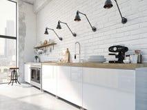 Cuisine nordique moderne en appartement de grenier rendu 3d Photo stock