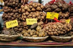Cuisine péruvienne : pommes de terre de différentes variétés image libre de droits