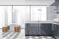 Cuisine panoramique avec les compteurs et la table gris illustration libre de droits