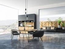 Cuisine plate de studio panoramique et salle à manger illustration libre de droits
