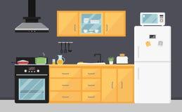 Cuisine plate de vecteur avec les appareils, l'évier, les meubles et les plats électriques Dispositifs à cuire modernes Intérieur illustration stock