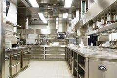 Cuisine professionnelle, compteur de vue en acier image libre de droits
