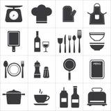 Cuisine réglée et cuisson d'icône Images stock