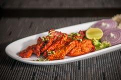 Cuisine tandoori épicée indienne savoureuse de poulet de tir latéral avec la chaux d'oignons image libre de droits