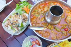 Cuisine Thai food soup and boiled fish Royalty Free Stock Images