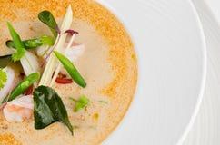 Cuisine traditionnelle de nourriture du thailandais de soupe à Tom Yum avec l'ingrédient image stock