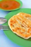 Cuisine traditionnelle indienne de prata de roti Photos stock