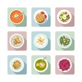 Cuisine végétarienne. Icônes plates en couleurs Photos libres de droits