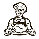 Cuisine vector logo. chicken meat, turkey, food icon Stock Photography
