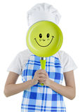 Cuisinière de femme avec la casserole image libre de droits