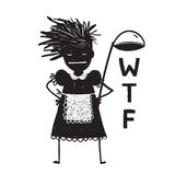 Cuisinière fâchée Asking Hands de femme sur des hanches Photographie stock