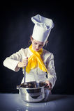 Cuisinier avec la casserole et la casserole Photos stock
