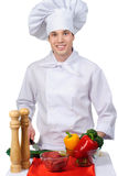 Cuisinier avec la nourriture Image stock