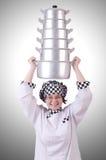 Cuisinier avec la pile de pots Photographie stock