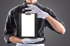 Cuisinier avec le carte-cas ou le menu rendu 3D et photo De haute résolution Image libre de droits