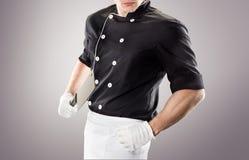 Cuisinier avec le couteau rendu 3D et photo De haute résolution Images stock