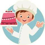 Cuisinier avec le gâteau illustration de vecteur