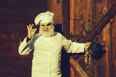 Cuisinier barbu avec la bouilloire de thé de fer photo libre de droits