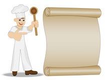Cuisinier d'homme avec l'exposition de cuillère à disposition sur la feuille de vieux papier Photo stock