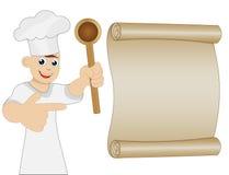 Cuisinier d'homme avec l'exposition de cuillère à disposition sur la feuille de vieux papier Image stock
