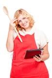 cuisinier de chef à l'aide d'une tablette images libres de droits