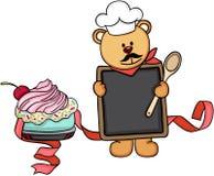 Cuisinier de chef d'ours de nounours tenant un menu de tableau noir avec le gâteau illustration de vecteur