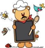 Cuisinier de chef d'ours de nounours tenant un menu de tableau noir dans le jardin illustration stock