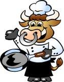 Cuisinier de chef de Bull retenant un carter Image libre de droits