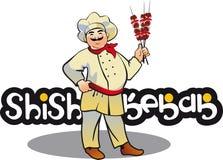 Cuisinier de chiche-kebab, caractère est de cuisine Photographie stock libre de droits