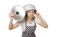 Cuisinier de femme d'isolement Images libres de droits