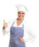 Cuisinier en chef heureux renonçant à des pouces. Photographie stock
