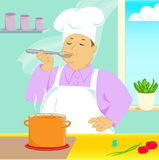 Cuisinier essayant le potage Image stock