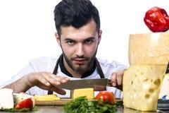 Cuisinier et fromage Photos libres de droits