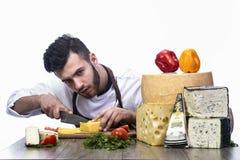 Cuisinier et fromage Image libre de droits