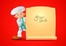 Cuisinier gai, jetant un coup d'oeil par derrière la bannière avec votre texte illustration stock