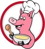 Cuisinier Holding Bowl Cartoon de chef de porc Photographie stock libre de droits