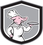 Cuisinier Holding Dish Cartoon de chef de porc Photographie stock