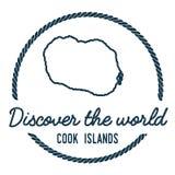 Cuisinier Islands Map Outline Le vintage découvrent Images stock