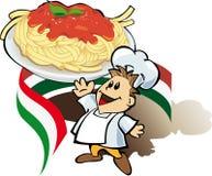 Cuisinier italien de chef avec des spaghetti Image stock