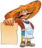 Cuisinier mexicain avec la carte. Images libres de droits
