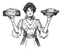 Cuisinier ou serveuse de cru avec les secteurs cuits au four   illustration stock